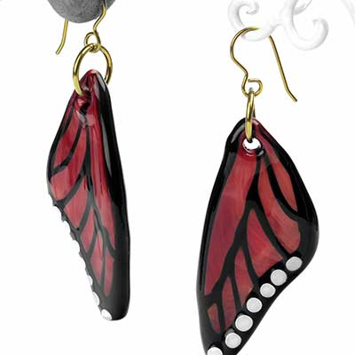 Glass Butterfly Wing Dangle Earrings