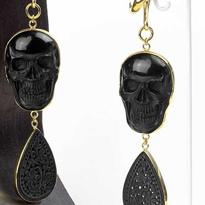 Carved Obsidian Flower and Skull Dangle Weights