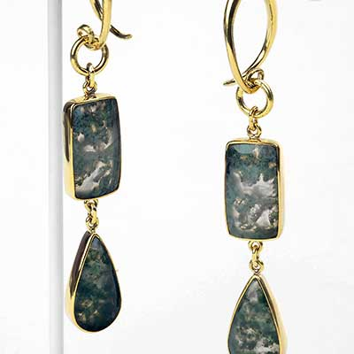 Solid Brass and Moss Agate Dangle Weights