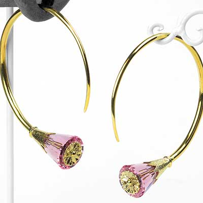 Solid Brass Tsabit Design with Pink Glass Flowers