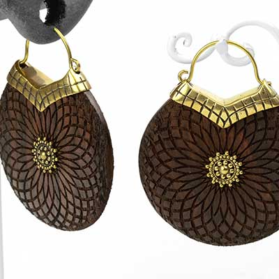 Brass and Wood Mandala Disc Earrings