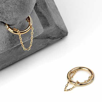 14K Gold Septum Clicker with Chain