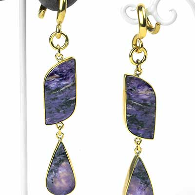 Solid Brass and Charoite Dangle Weights