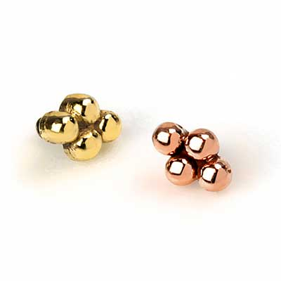 14K Gold Beaded Cluster Threaded Ends