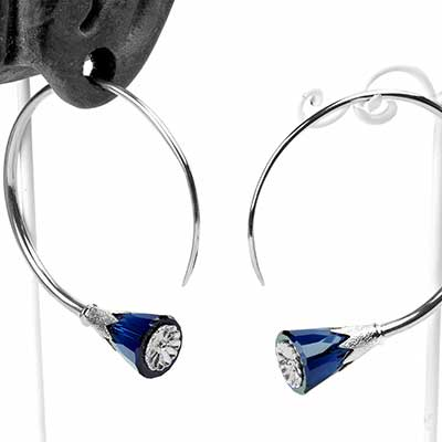 Sterling Silver Tsabit Design with Dark Blue Glass Flowers