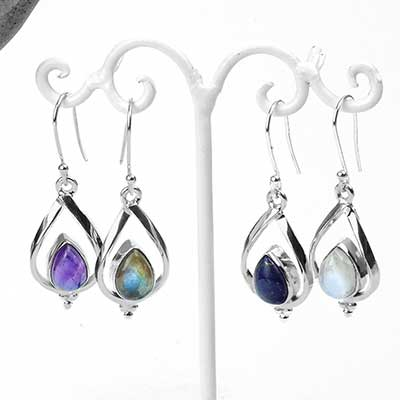 Sterling Silver and Stone Teardrop Dangle Earrings