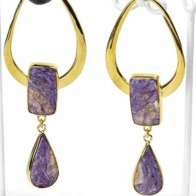 Solid Brass India Design with Charoite