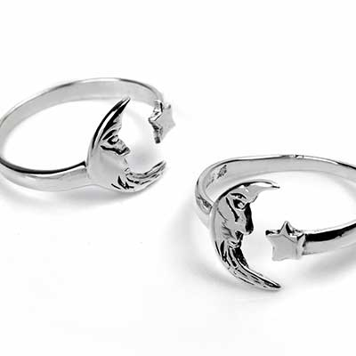 Silver Moon and Star Adjustable Ring