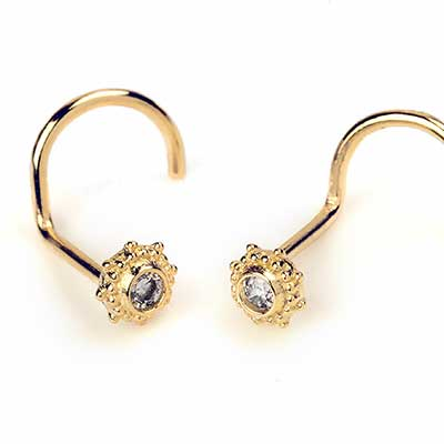 14K Gold Sun and Gem Nosescrew