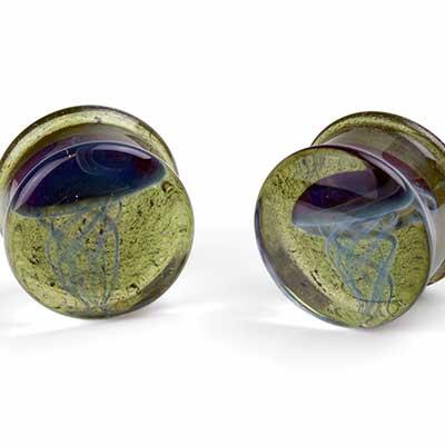 Glass Jellyfish Plugs (Blue Moon On Emerald City)