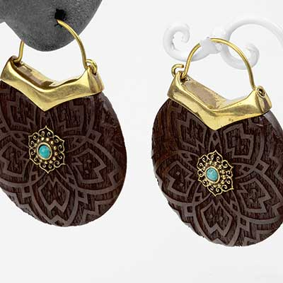 Brass and Wood Lotus Disc Earrings