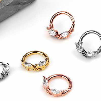 Wrapped Steel Gem Seamless Ring