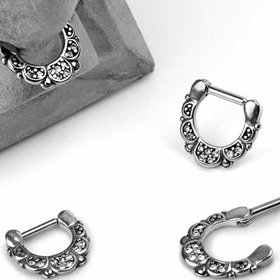Steel Filigree Petal Septum Clicker