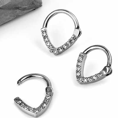 Steel Gemmed Teardrop Septum Clicker