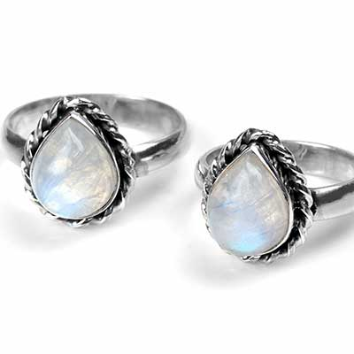 Braided Teardrop Moonstone Ring