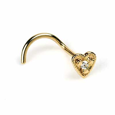 14k Gold Heart Nosescrews
