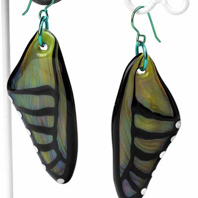 Glass Olive Butterfly Wing Dangle Earrings