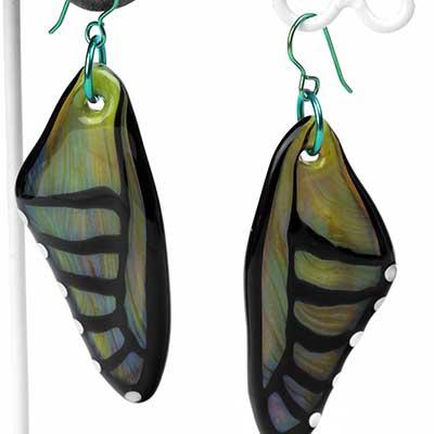 Glass Olive Butterfly Wing Dangle Earrings