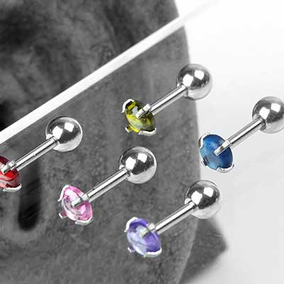 Prong Set Cabochon Barbell