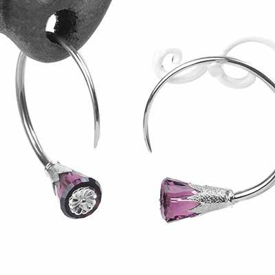 Sterling Silver Tsabit Design with Purple Glass Flowers