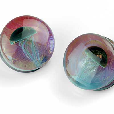 Glass Jellyfish Plugs (Blue Moon On Amber Purple)