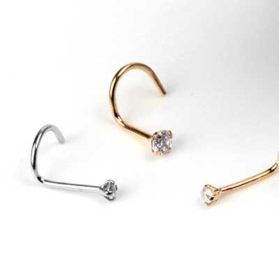 14K Gold Prong Set Gem Nosescrew