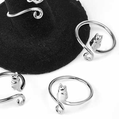 Silver Adjustable Kitten Ring