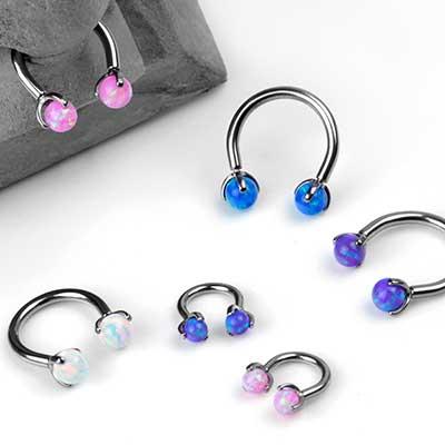 Titanium Circular Barbell with Three Prong Set Opal Balls