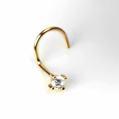 14K Gold Square Gemmed Nosescrew