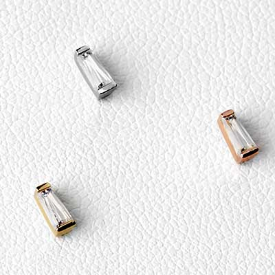 Solid 14k Gold Tapered Baguette Threadless End