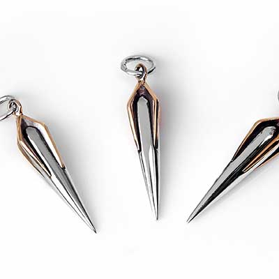 Silver and Bronze Spike Pendant