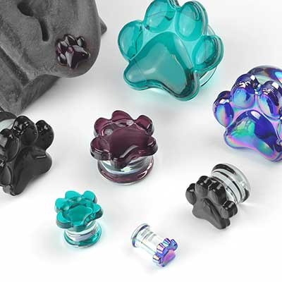 Glass Paw Print Plugs