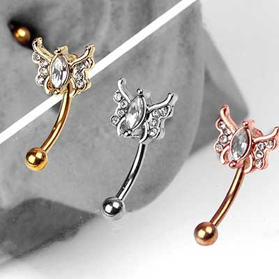 Gemmed Butterfly Curved Barbell