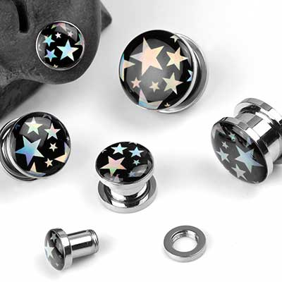 Hologram Star Steel Plugs