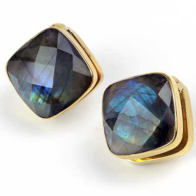 Solid Brass Cubix Weights with Faceted Labradorite