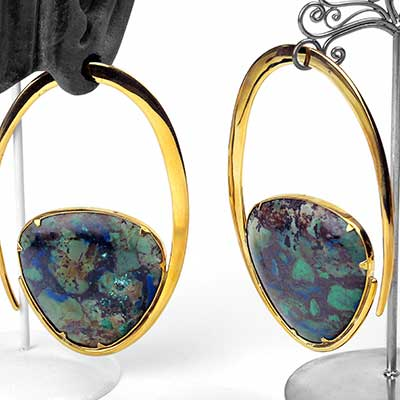 Solid Brass Ellipse Weights with Chrysacolla