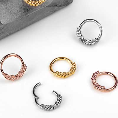 Steel Laurel Clicker Ring