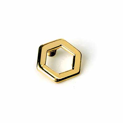 14K Gold Open Hexagon Internally Threaded End