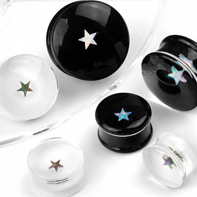 Pyrex Glass Plugs with Star Opals