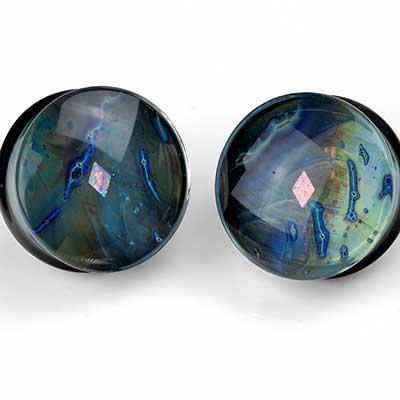 Pyrex Glass Diamond Opal Gaia Plugs