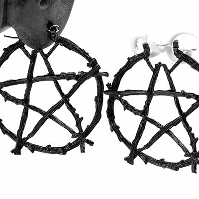 Black Pentagram Earrings