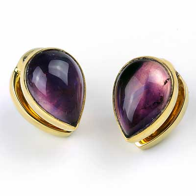 Solid Brass Spade Weights with Amethyst