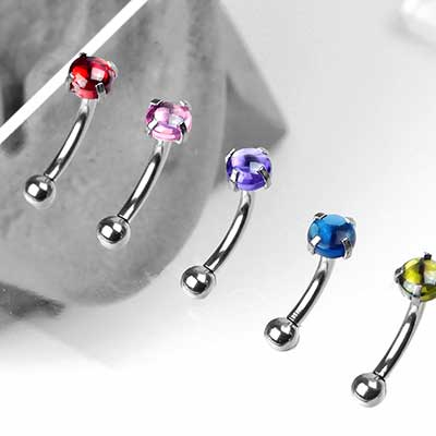 Prong Set Cabochon Curved Barbell