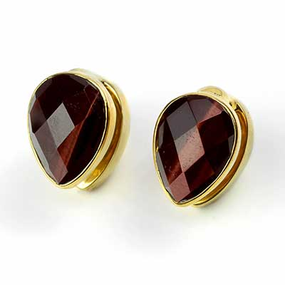 Solid Brass Spade Weights with Faceted Red Tiger Eye