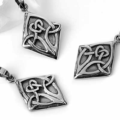 Silver Celtic Knot Diamond Pendant