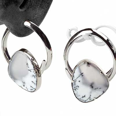 White Brass Coils with Dendritic Opal