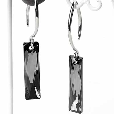 Swarovski Black Crystalcitite Design with White Brass Hooks