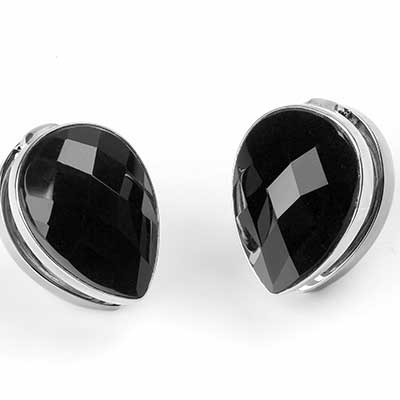 White Brass Spade Weights with Faceted Black Obsidian