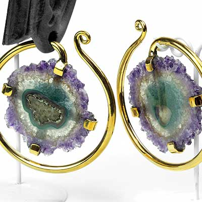 Solid Brass Puj Ju Hoops with Amethyst Druzy