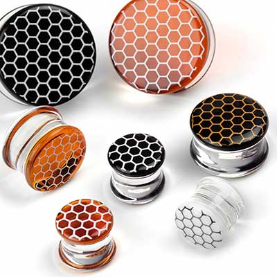 Pyrex Glass Colorfront Plugs with Honeycomb Overlay